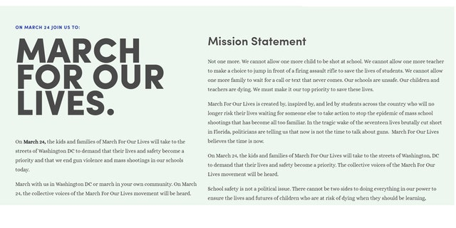 """A screenshot of the """"March for Our Lives"""" website with their mission statement."""