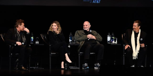 "Michelle Pfeiffer was reunited with, from left, ""Scarface"" co-star Steven Bauer, director Brian De Palma, and co-star Al Pacino."