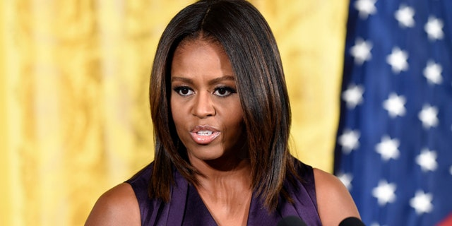 Sept. 30, 2014: First lady Michelle Obama speaks at a luncheon in the East Room of the White House in Washington, to honor of the winners of the 2014 National Design Awards, which are organized by the Smithsonian's Cooper-Hewitt, National Design Museum. (AP)