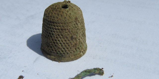 The thimble discovered at at Colonial Michilimackinac (Mackinac State Historic Parks)