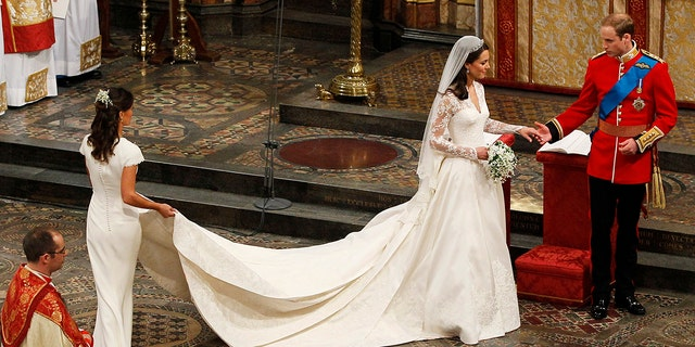 Copies of Kate Middleton's wedding dress were readied for display the same day, though they didn't sell too well — Kate's tastes were apparently a bit too conservative for Americans.