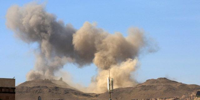 April 17, 2015: Smoke rises after a Saudi-led airstrike on Sanaa, Yemen.