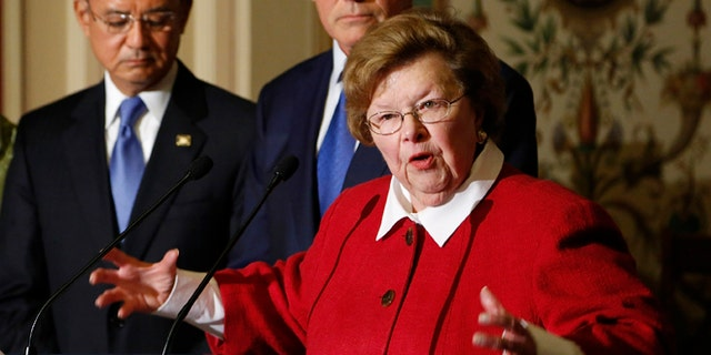 In this May 22, 2013 photo, Sen. Barbara Mikulski, D-Md., speaks at a news conference at the U.S. Capitol in Washington.