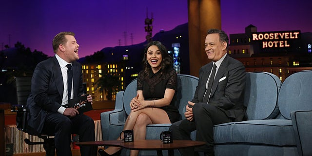 """James Corden chats with his first guests, Tom Hanks and Mila Kunis, on """"The Late Late Show with James Corden."""""""