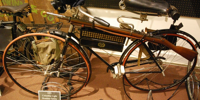 An American made 1891 Columba Light Roadster Safety, considered state-of-the-art at the time as it featured a rear brake, no seat tube and cushioned tires. This example in the Bicycle Museum of America in New Bremen, Ohio, was modified for use by the U.S. military to hold a rifle and ammunition case. (Photo: Peter Suciu, Bicycle Museum of America)