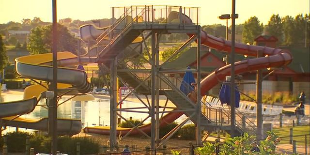 The 8-year-old boy was thrown off a water slide platform on Tuesday, police said.