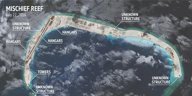 A satellite image showing development at Mischief Reef.