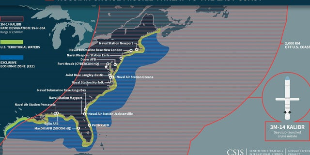 A map from the Center for Strategic and International Studies showing the threat posed by Russian cruise missiles to the U.S.