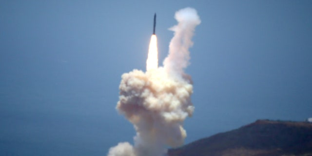 A U.S. ballistic missile interceptor launches during a flight test from Vandenberg Air Force Base in May.