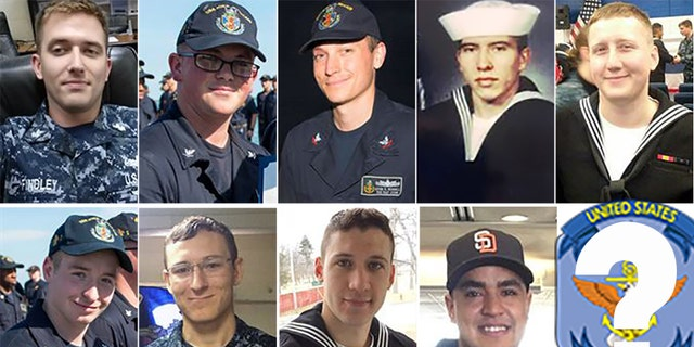 These are the US sailors who went missing after the USS McCain collided with an oil tanker in the Pacific. Top Row L-R: Nathan Findley, Henry Hoagland, Kevin Bushell, Abraham Lopez and Logan Palmer. Bottom Row L-R: Jacob Drake, Kenneth Smith, Dustin Doyon, and Timothy Eckles Jr. The Navy has not released a photo of Corey Ingram.