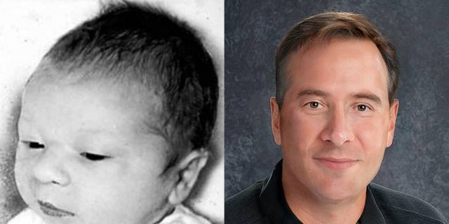 An age-progression image, right, shows what Paul Fronczak, who was abducted from a Chicago hospital in 1964, left, might look like today.