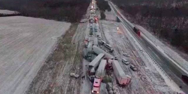 Image from video shot by drone of a multiple vehicle accident on I-44 in Missouri Sunday.