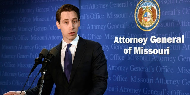 Missouri Attorney General Josh Hawley addresses reporters in Jefferson City Tuesday.