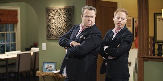 """Eric Stonestreet and Jesse Tyler Ferguson play gay couple Mitch and Cam on ABC's """"Modern Family."""""""