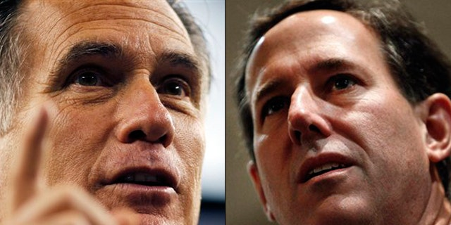 Shown here are Mitt Romney, left, and Rick Santorum.