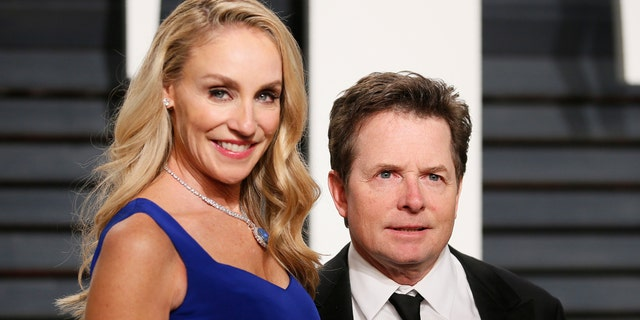 Tracey Pollan and Michael J. Fox at the 2017 Vanity Fair Oscar party.