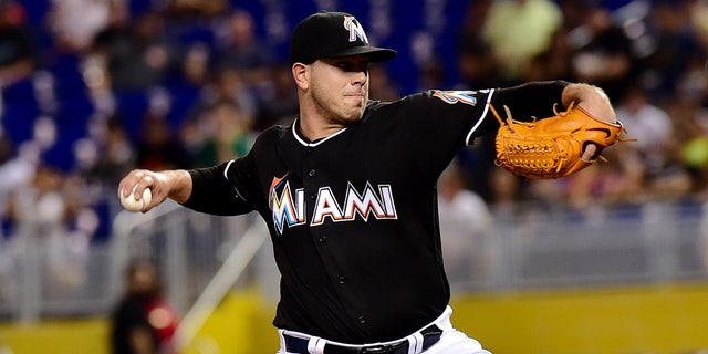 July 28, 2016: Jose Fernandez (16) delivers a pitch during the first inning against the St. Louis Cardinals at Marlins Park.