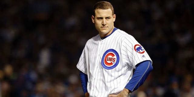 Oct 16, 2016; Chicago, IL, USA; Chicago Cubs first baseman Anthony Rizzo (44) reacts after hitting a pop fly during the first inning against the Los Angeles Dodgers in game two of the 2016 NLCS playoff baseball series at Wrigley Field. Mandatory Credit: Jon Durr-USA TODAY Sports