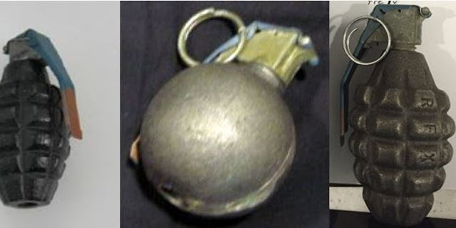 Three inert grenades found by TSA officials in July.