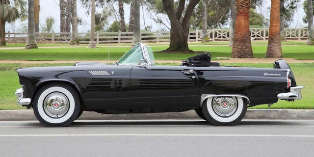 This stunning Ford Thunderbird owned by Marilyn Monroe from 1955 to 1962 will be sold by Julien's Auctions, on November 17, 2018.  See SWNS story SWMONROE.  It is estimated that it will sell for $250,000-$500,000.  One of the most desired women in the world, Monroe's life was deeply troubled, but during the time that she owned this car she was enjoying some of the happiest days of her life.  Soon after buying the Thunderbird, Monroe married the celebrated playwright Arthur Miller. A published report at the time suggests that Monroe and Miller drove this vehicle to their civil wedding ceremony on June 28, 1956 and likely their private wedding on June 30, 1956.