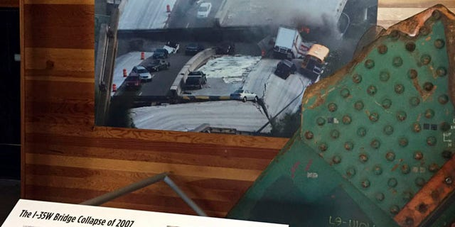 This file photo shows one of the failed gusset plates blamed for the Aug. 1, 2007 collapse of the Interstate 35W Bridge in downtown Minneapolis.