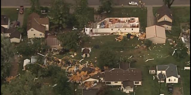 Tornado damage in Watkins.