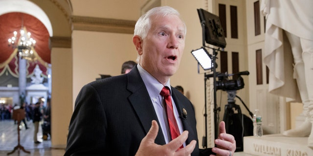 FILE - In this March 22, 2017 file photo, Rep. Mo Brooks, R-Ala. is interviewed on Capitol Hill in Washington. Brooks is using audio of last month's shooting involving GOP Whip Steve Scalise and other Republican congressmen in a campaign ad touting his support for gun rights (AP Photo/J. Scott Applewhite, file)