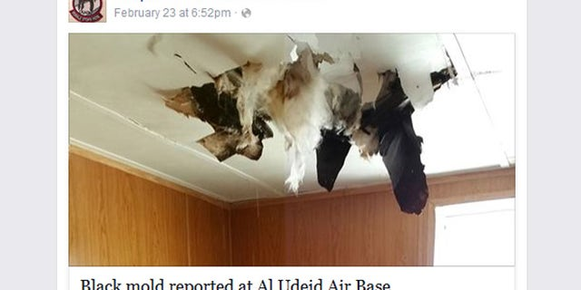"Photo purportedly showing mold damage posted on ""People of the Deid"" page, which chronicles life on the Al Udeid air base in Qatar"