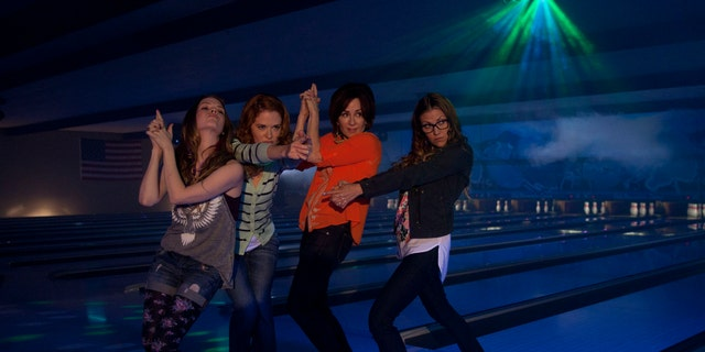"""Abbie Cobb, Sarah Drew, Patricia Heaton, and Andrea Logan White in a scene from the family comedy, """"Mom's Night Out."""""""