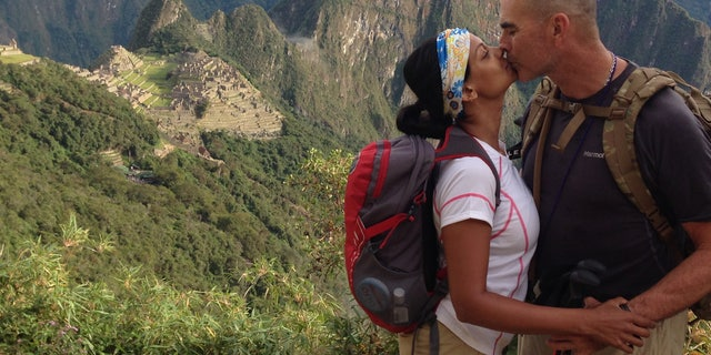 Mona Patel with her boyfriend, George Jahant, while climbing Machu Picchu in June 2013.