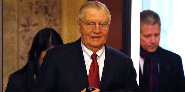 Jan. 6, 2015: Former U.S. Vice President Walter Mondale arrives to witness the first day of the 114th Congress on Capitol Hill in Washington. (Reuters)