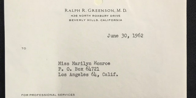The typed receipt from the Marilyn Monroe's psychiatrist Dr. Ralph R. Greenson (Henry Aldridge & Son)