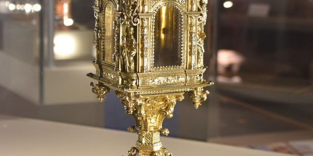 The monstrance on loan from the Victoria and Albert Museum (Norton Priory Museum Trust)