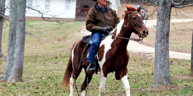 Alabama Republican Senate candidate Roy Moore rode in on his horse, as he traditionally does, to cast his ballot.