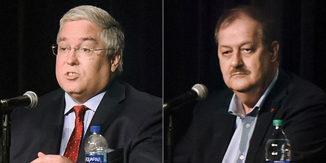 Patrick Morrisey, left, is facing off against Don Blankenship, right, and Rep. Evan Jenkins in West Virginia.