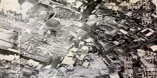The destroyed Grand al-Nuri Mosque of Mosul in Iraq.