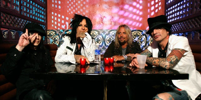 (Left to right:) Motley Crue's Mick Mars, Nikki Sixx, Vince Neil and Tommy Lee pose at Avalon in Hollywood, California April 15, 2008.