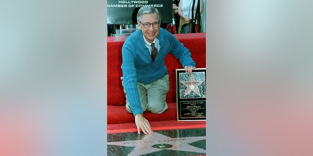 Mr. Rogers accepts his star on the Hollywood Walk of Fame.