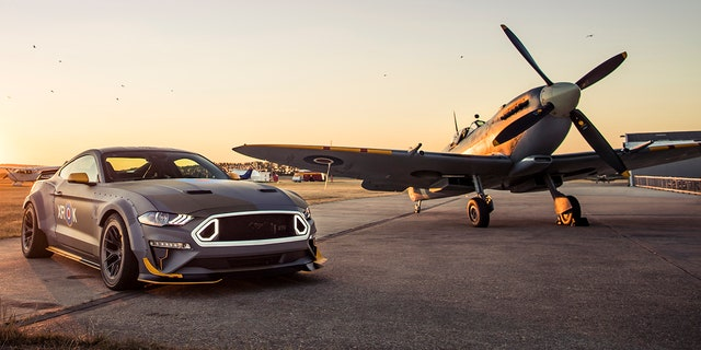 Ford Mustang and Spitfire aerial shoot.