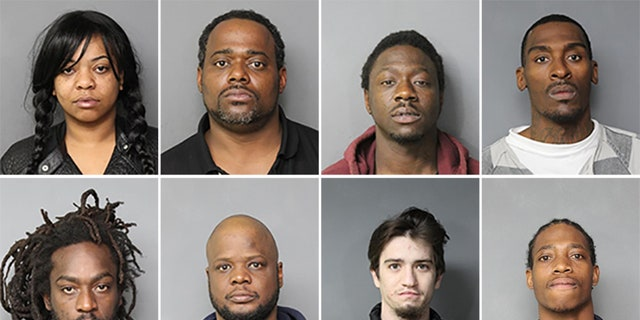 (Top, left to right) Ursula Farris, 34; William Satterfield, 35; Maurice Boykins, 31; Rodney Taylor, 36. (Bottom, left to right) Robert Williams; 31, Nathan Talbert, 39; William Koob, 20; Jared Bryant, 26.