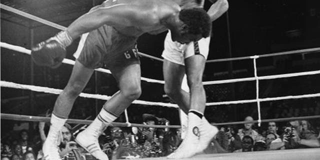 """FILE - In this Oct. 30, 1974 file photo, Challenger Muhammad Ali watches as defending world champion George Foreman goes down to the canvas in the eighth round of their WBA/WBC championship match in Kinshasa, Zaire, on Oct. 30, 1974. Foreman was counted out by the referee and Ali regained the world heavyweight crown by knockout in the bout dubbed """"Rumble in the Jungle."""" (AP Photo/File)"""