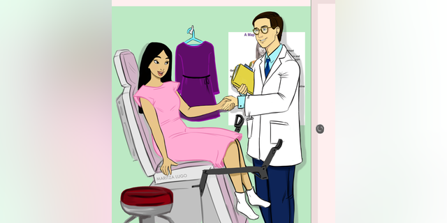 Disney princess Mulan at her gynecologist's office for her regular cervical cancer screening.