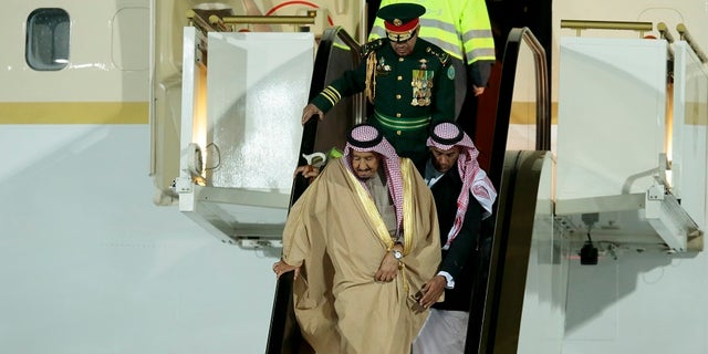 Saudi Arabia's King Salman normally travels with his golden escalator.