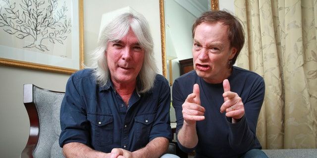 "Cliff Williams and Angus Young promote ""Rock or Bust"" in 2014."
