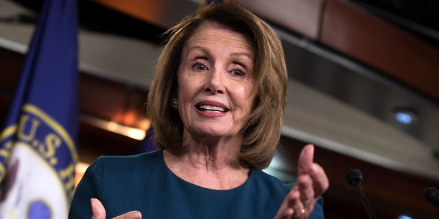 House Minority Leader Nancy Pelosi, D-Calif., speaks with reporters on Capitol Hill in Washington, Wednesday, Sept. 20, 2017.