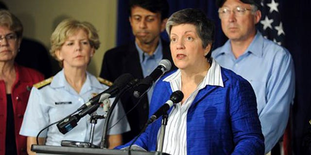 Homeland Security Secretary Janet Napolitano addresses a news conference on April 30 at the command center in Robert, La. (AP Photo)