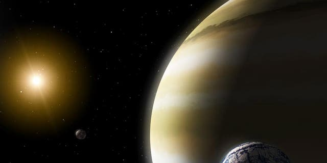 An exomoon circles a gas giant planet in this artist's impression. What happens to exomoons when their planets interact?