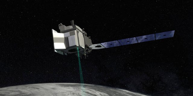 In this artist's concept of ICESat-2, the satellite's laser beams are visible as it orbits.