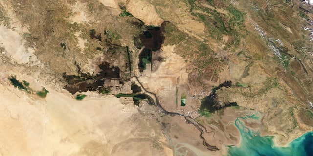 Satellite view of the wetlands in southern Iraq in February 2010