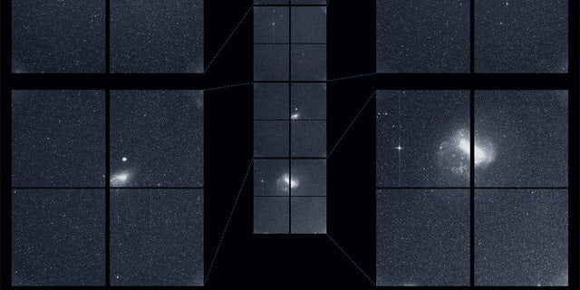 "The Transiting Exoplanet Survey Satellite (TESS) captured this strip of stars and galaxies in the southern sky during one 30-minute period on Tuesday, Aug. 7. Created by combining the view from all four of its cameras, this is TESS' ""first light,"" from the first observing sector that will be used for identifying planets around other stars. Notable features in this swath of the southern sky include the Large and Small Magellanic Clouds and a globular cluster called NGC 104, also known as 47 Tucanae. The brightest stars in the image, Beta Gruis and R Doradus, saturated an entire column of camera detector pixels on the satellite's second and fourth cameras. No object labels."